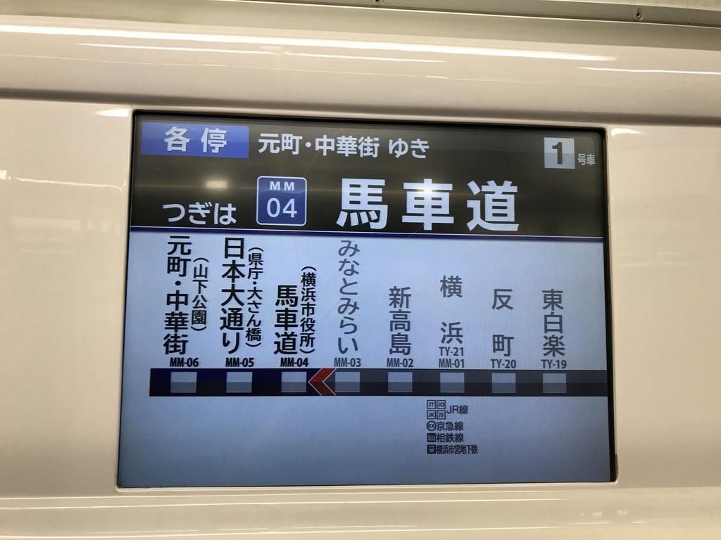 横浜高速鉄道Y515F内の車内ディスプレイで馬車道駅到着直前に表示された路線図(2020/6/6)