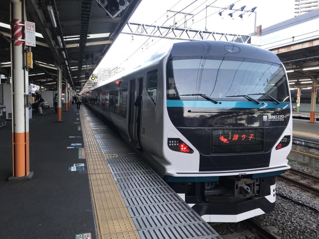 熱海駅4番線に停車中のE257系踊り子18号池袋行き(2020/3/20)