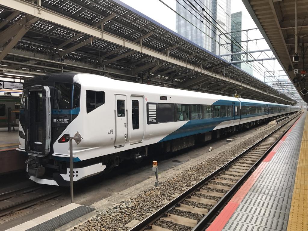 東京駅9番線に停車中のE257系踊り子15号伊豆急下田行き(2020/3/16)
