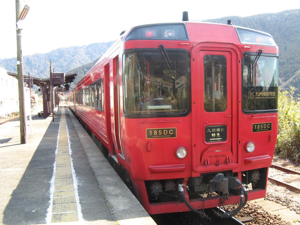 立野駅に停車中のキハ185系特急九州横断特急4号別府行き(2008/2/25)