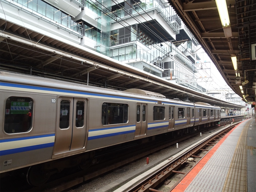 横浜駅9番線に停車中のE217系11両編成と、駅舎上のNEWoMan YOKOHAMA(2020/6/27)
