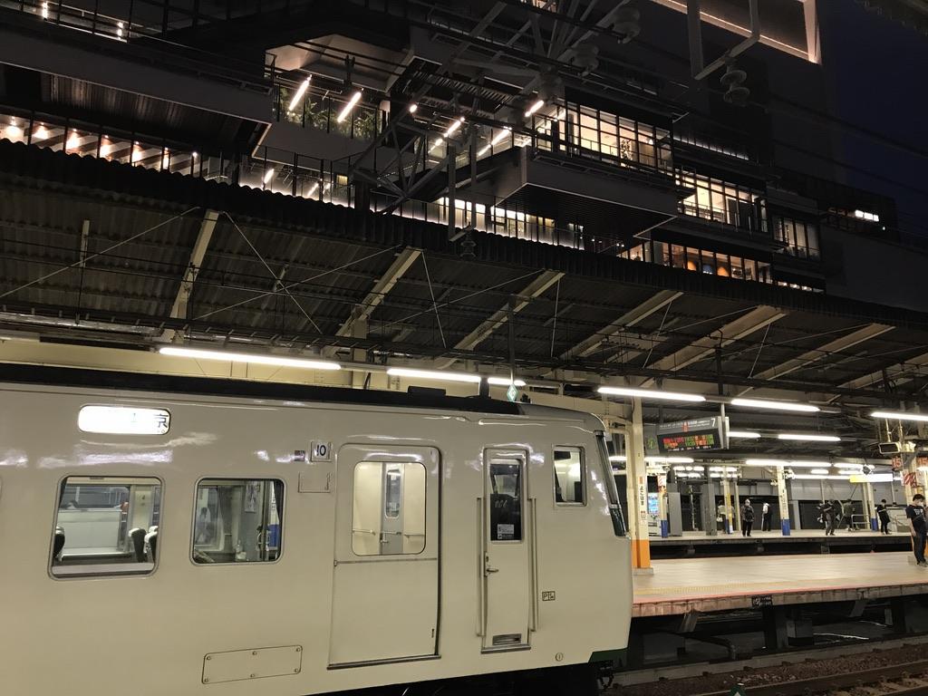 土休日運転の185系踊り子20号と、先日開業したNEWoMan横浜のデッキ(2020/7/5)
