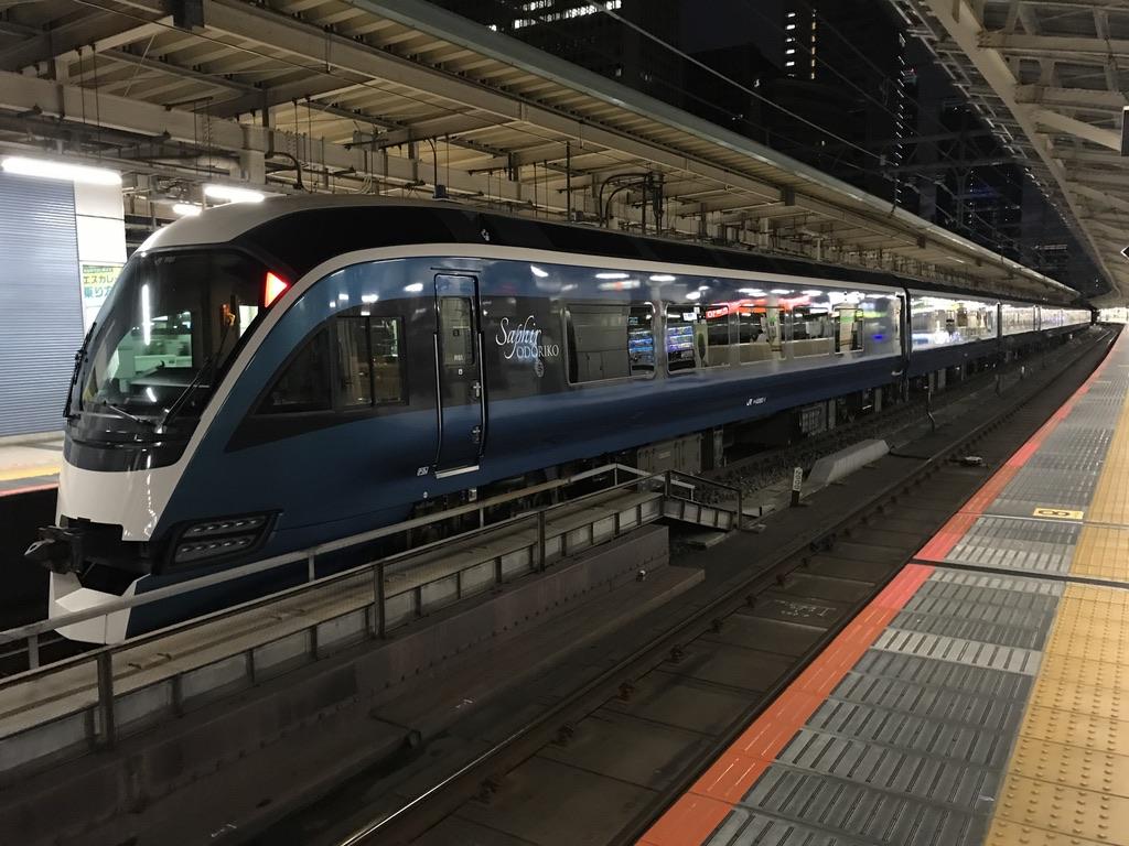 東京駅8番線に到着したサフィール踊り子4号(2020/7/12)