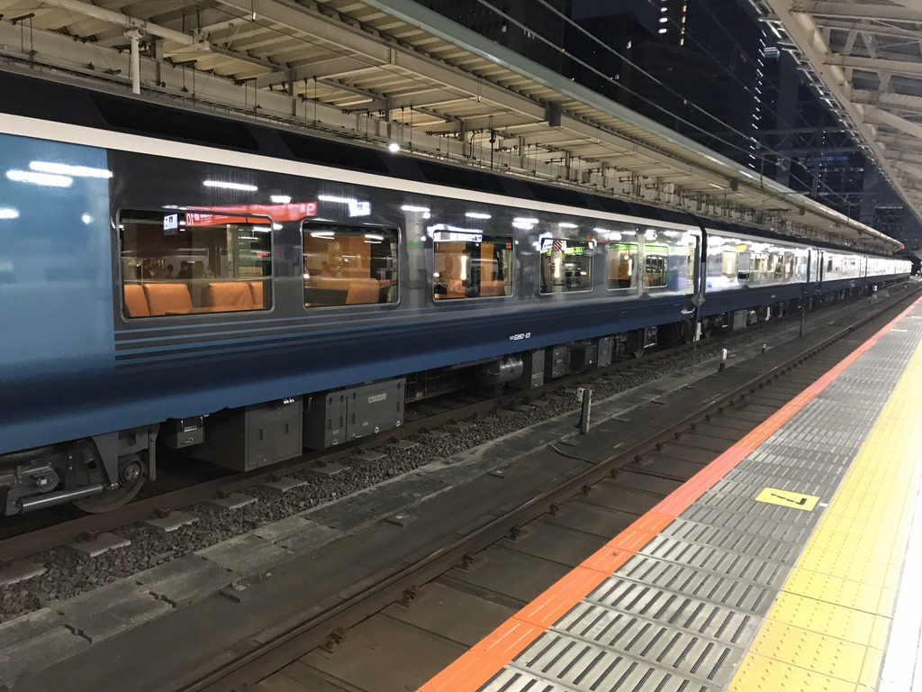 東京駅8番線に到着したE261系サフィール踊り子4号、2号車から先(2020/7/12)