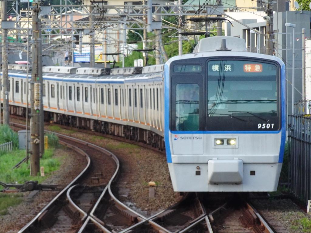 海老名駅1番線に到着する9701F特急海老名行き(2020/7/19)