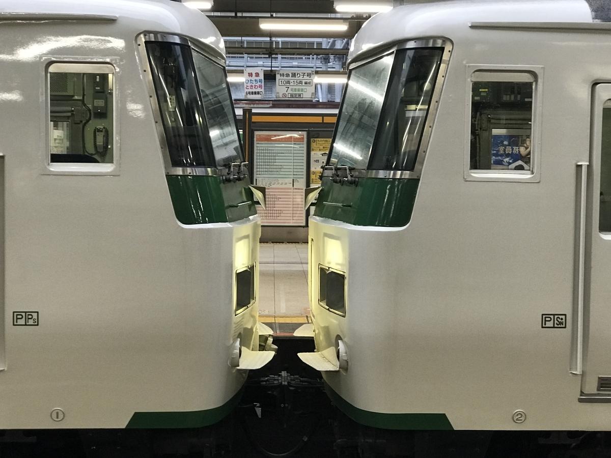 終点・東京駅に到着した185系6+4両の踊り子56号(2020/7/24)