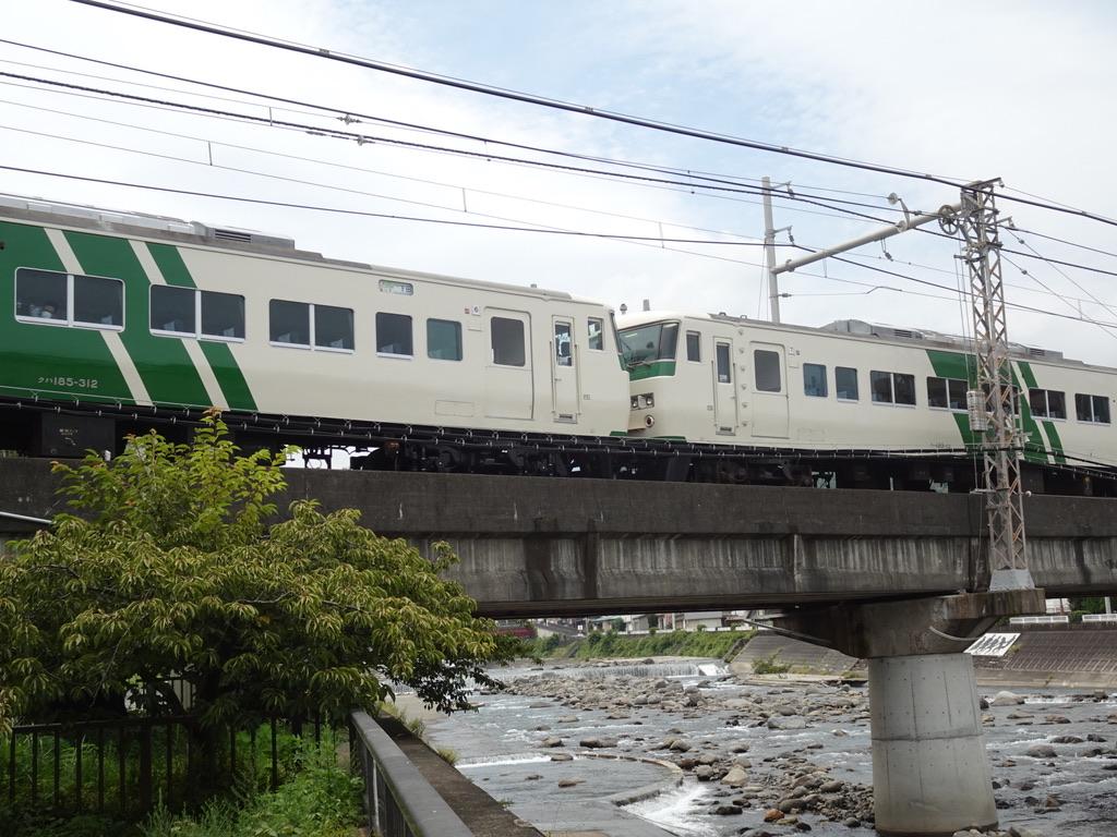 白田川を渡る踊り子55号の6・7号車連結部分(2020/7/24)