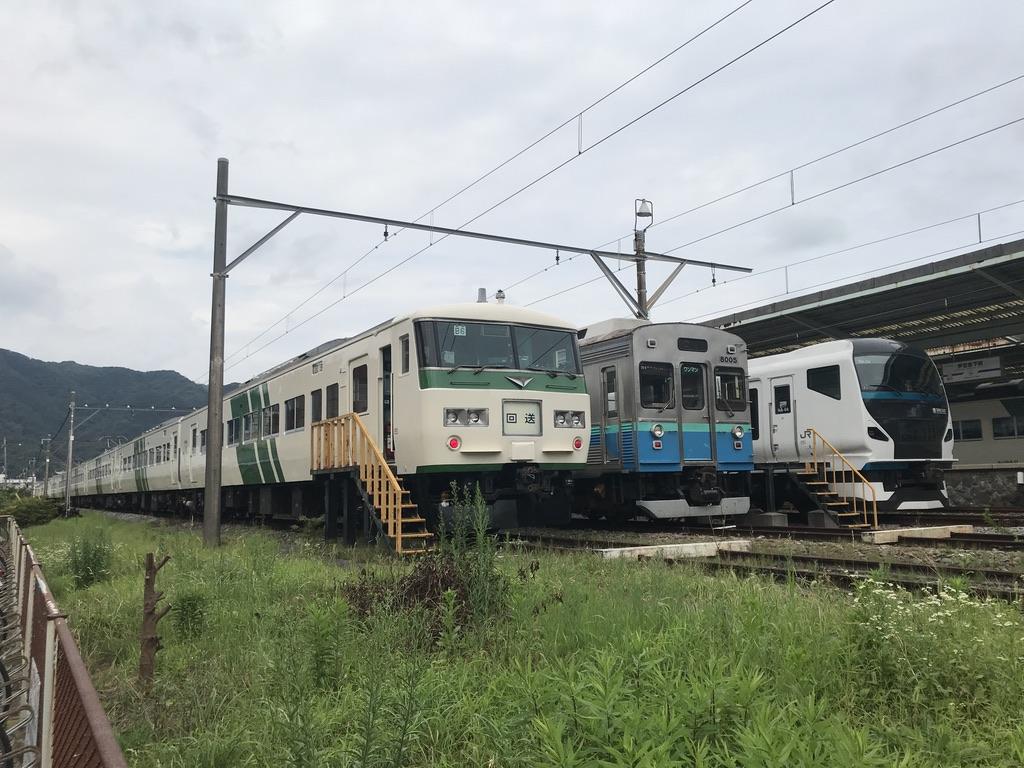 伊豆急下田駅の留置線の一番外側に留置されている、踊り子55号・56号充当の185系B6+C7編成(2020/7/24)