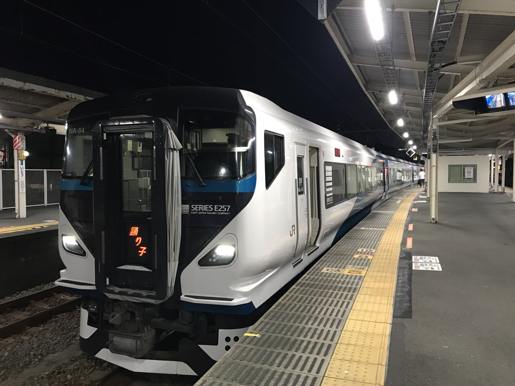 伊東駅2番線に停車中のE257系踊り子58号東京行き(2020/8/8)