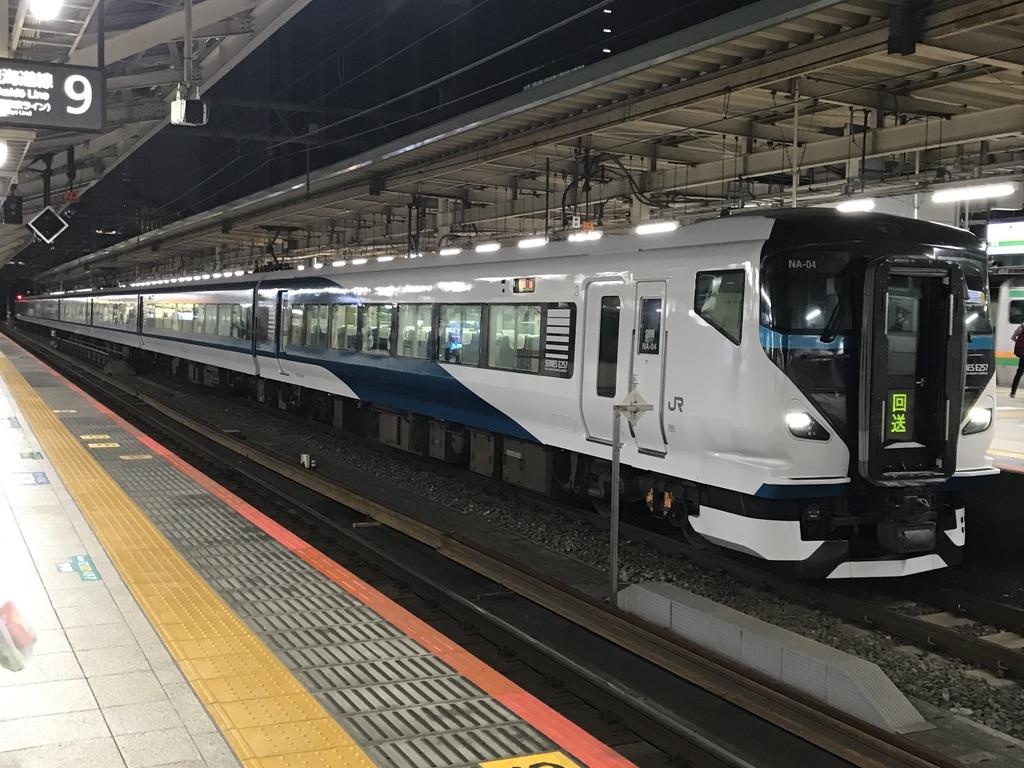 終点・東京駅8番線に到着したE257系踊り子58号(2020/8/8)