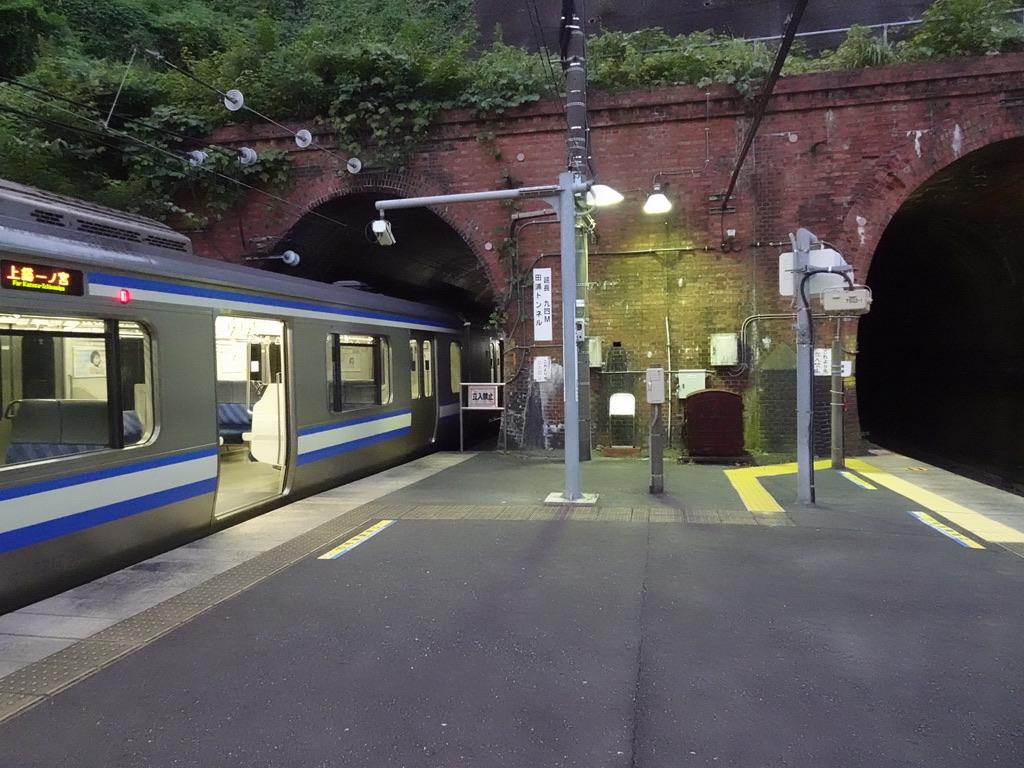 田浦駅1番線に停車中のE217系11両編成・10号車前寄りのドアは開かない(2020/8/9)