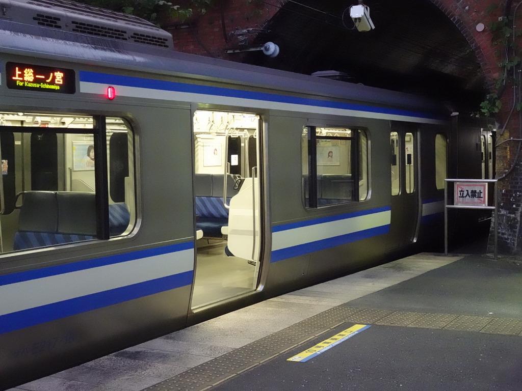 田浦駅1番線に停車中のE217系11両編成。10号車前寄りのドアは開かない(2020/8/9)