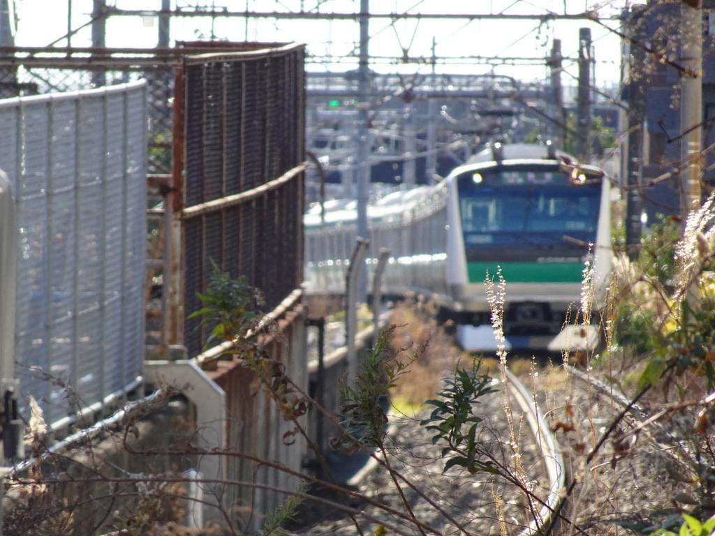 御幸踏切に差し掛かる相鉄線からの直通列車・E233系新宿行き(2020/1/5)