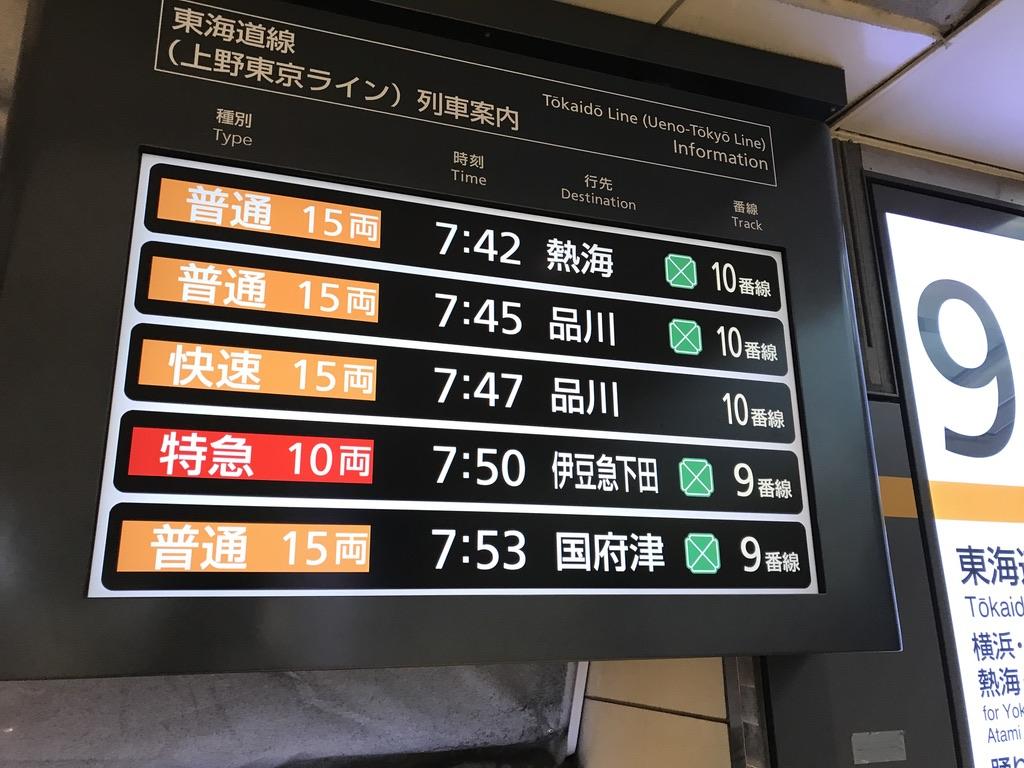 特急踊り子53号は、平日朝ラッシュの最中に東京駅を発車する(2020/8/7)