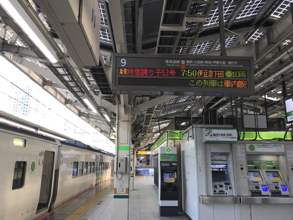 東京駅9番線に停車中の185系特急踊り子53号伊豆急下田行き(2020/8/7)