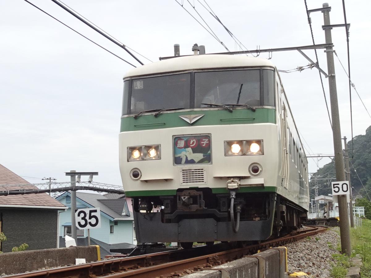 運転停車した片瀬白田駅を出発する185系踊り子54号東京行き(2020/7/24)