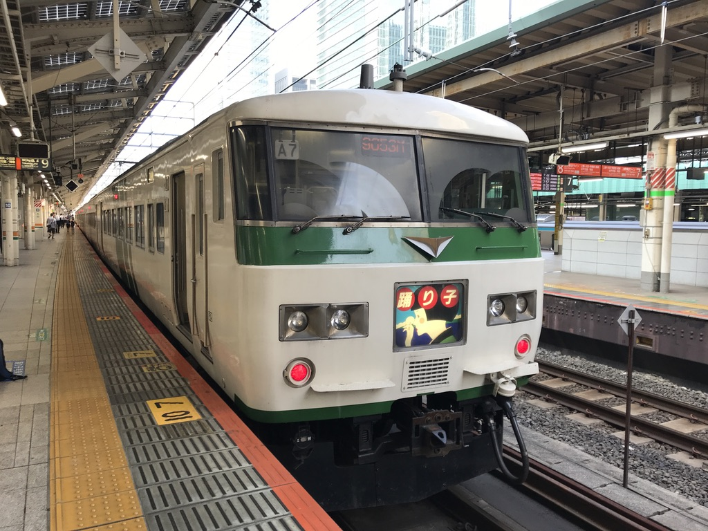 東京駅9番線に入線した185系特急踊り子53号伊豆急下田行き(2020/8/7)