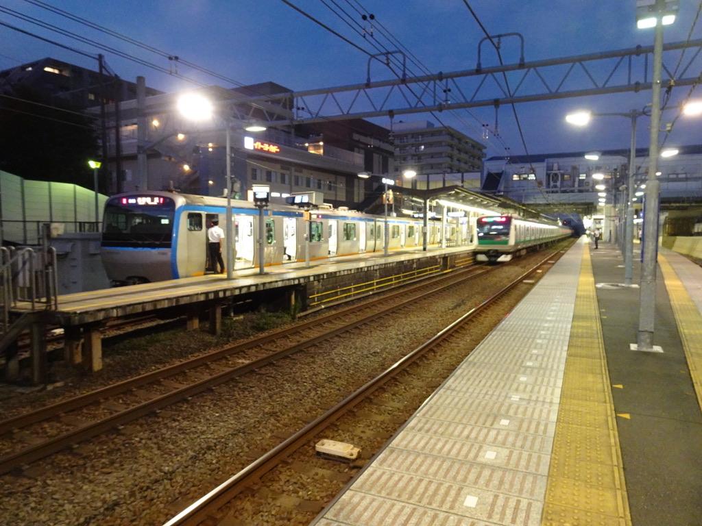 瀬谷駅を通過するE233系JR直通特急と、待避する11000系各停(2020/8/13)