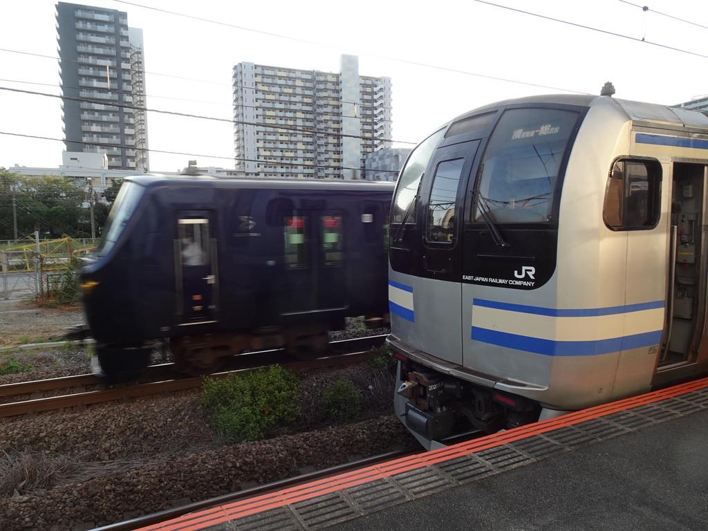 新川崎駅に停車中のE217系横須賀線上り列車の横を通過する相鉄12000系(2020/8/19)
