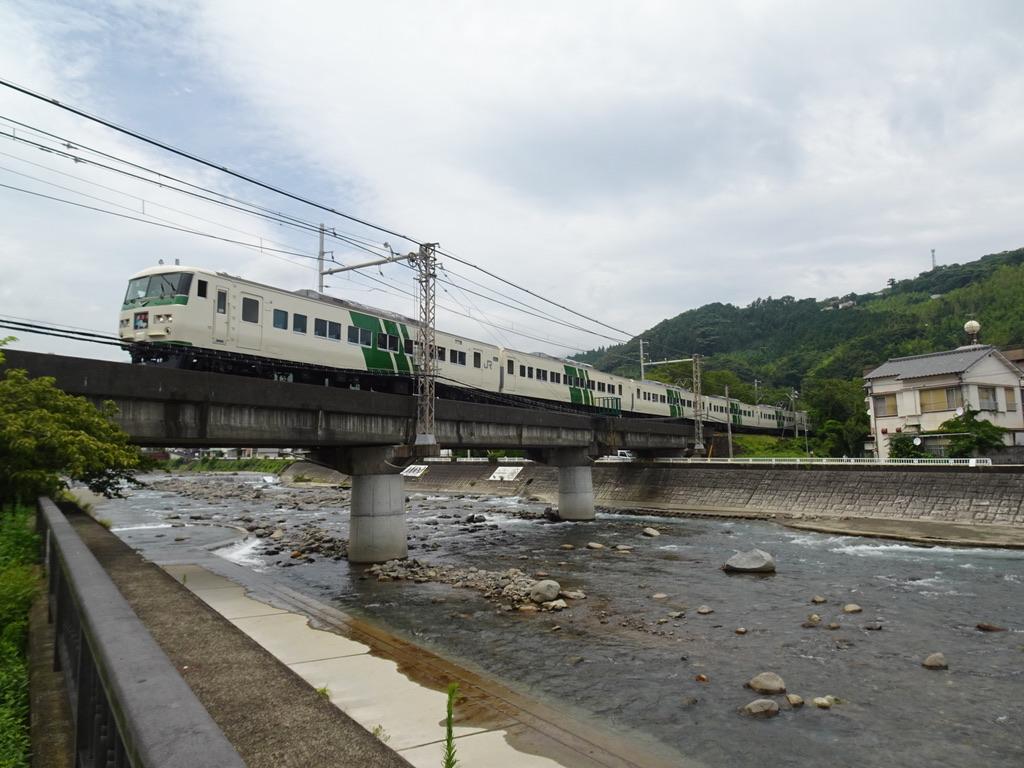 白田川を渡る185系踊り子55号伊豆急下田行き(2020/7/24)