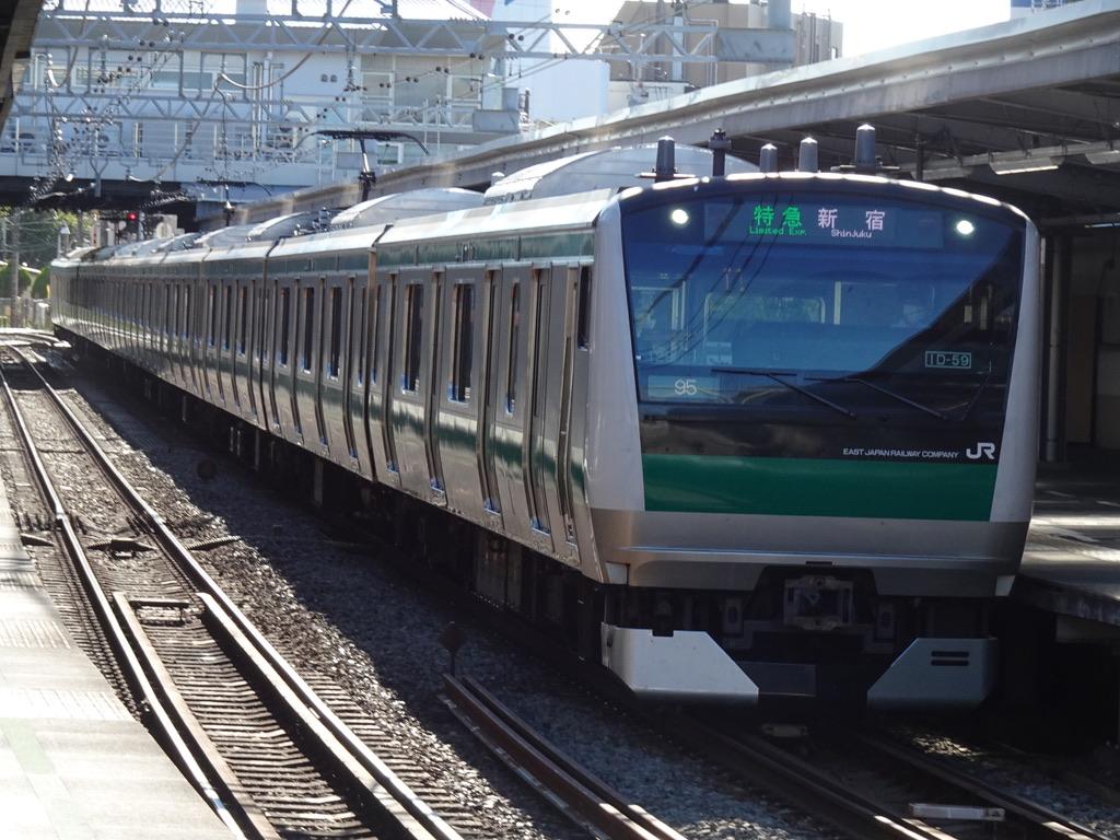 鶴ヶ峰駅2番線を通過中のE233系特急新宿行き(2020/8/30)