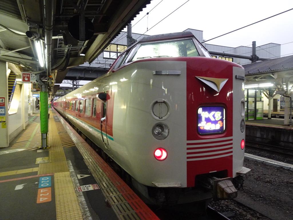 米子駅1番線に到着した381系特急やくも28号岡山行き(2020/9/12)