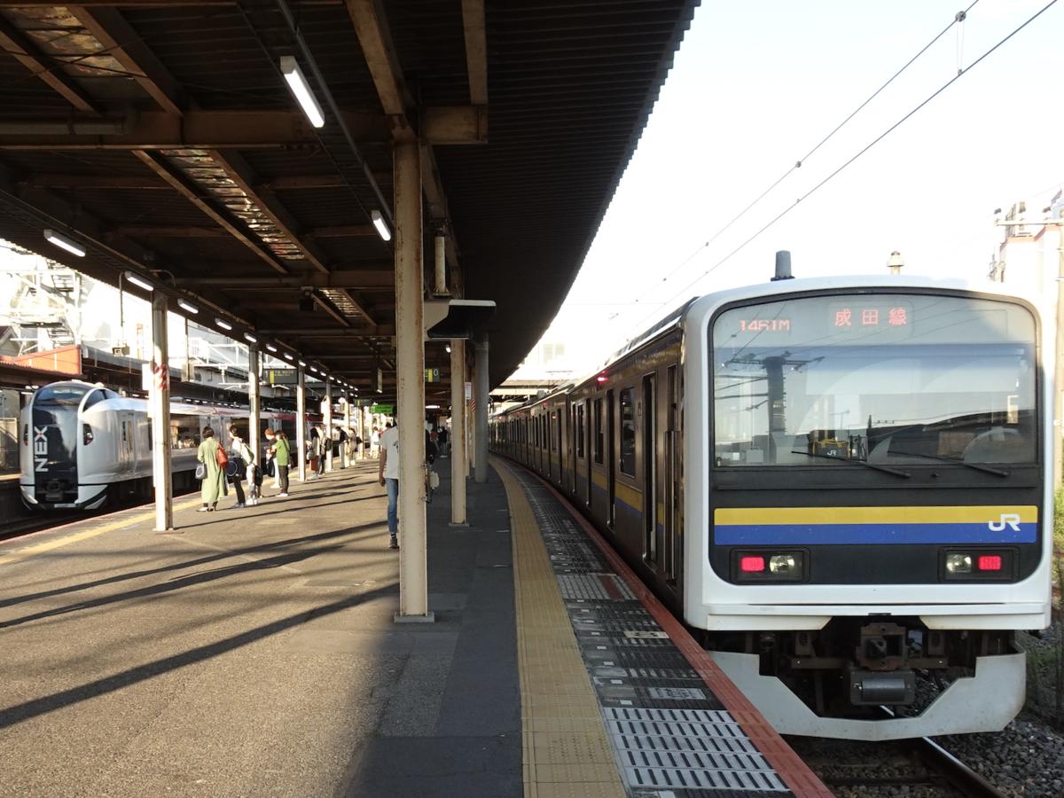 四街道駅で成田エクスプレス(の回送)を待避する209系成田空港行き(2020/9/21)