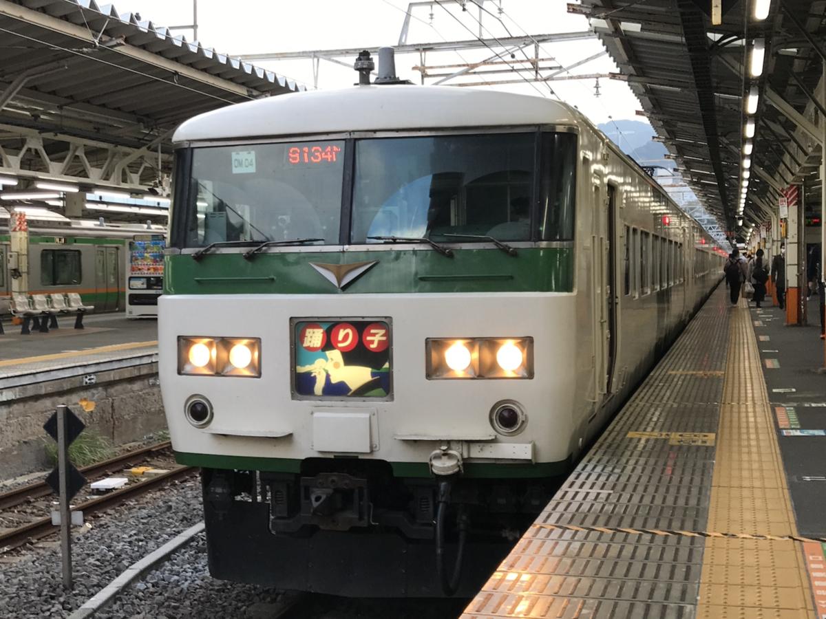 熱海駅4番線に停車中の185系(7両編成)踊り子114号我孫子行き(2020/11/8)