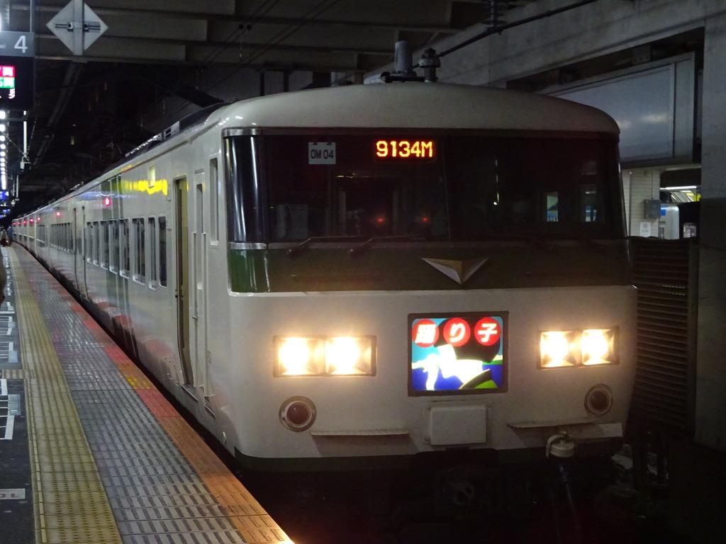 柏駅4番線に到着した185系(7両編成)踊り子114号我孫子行き(2020/11/8)