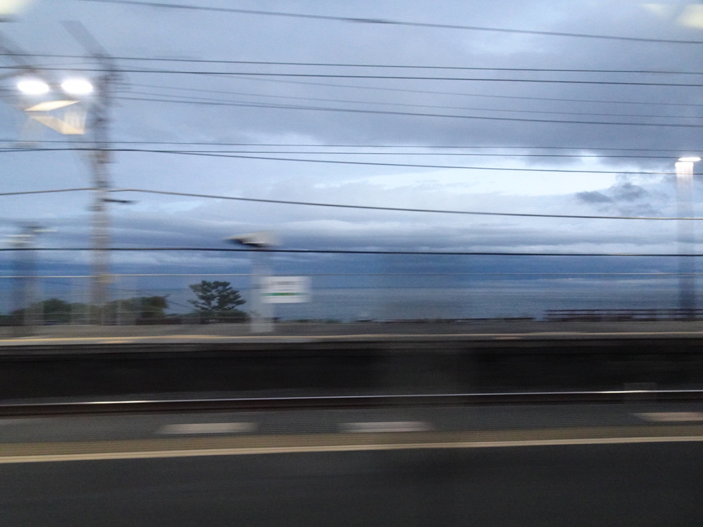 ホリデー快速あたみ号から眺めた根府川駅の通過(2020/11/7)