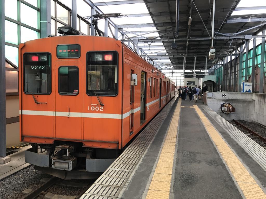 電鉄出雲市駅に到着した元東急車1002号(2020/10/17)