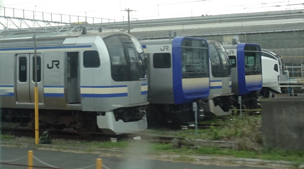 下り踊り子号車内から撮影した、鎌倉車両センターに留置されているE217系やE235系(2020/9/20)