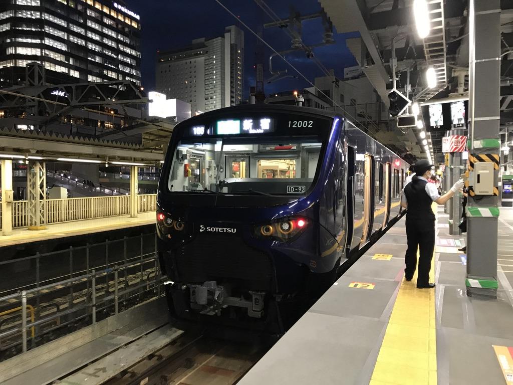 渋谷駅3番線新ホーム停車位置と相鉄12000系(2020/7/7)