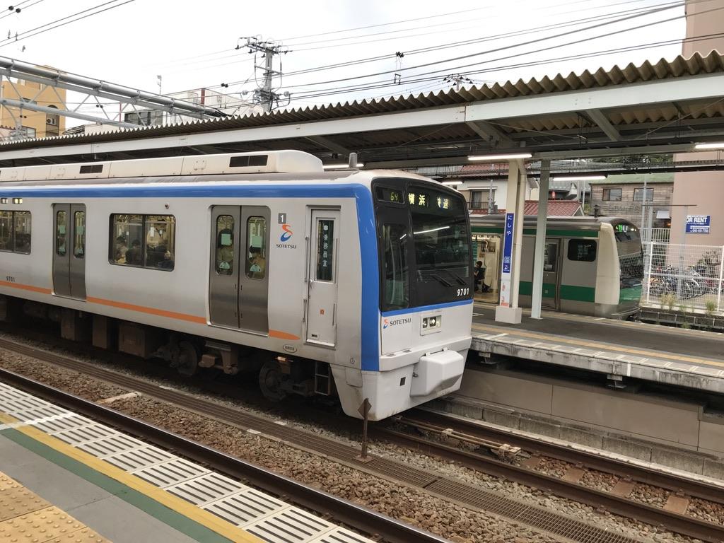 西谷駅3・4番線に並ぶ9701F快速横浜行き、E233系特急新宿行き(2020/10/11)