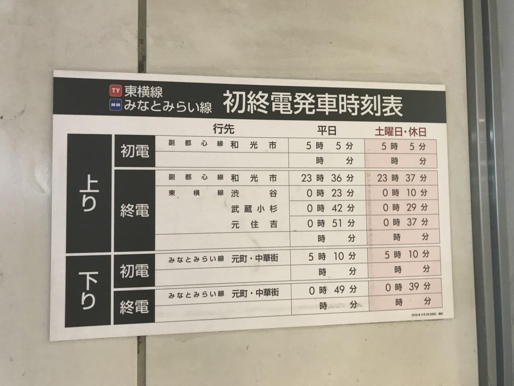 東横線・みなとみらい線横浜駅の初電・終電時刻表(2020/1/9深夜)