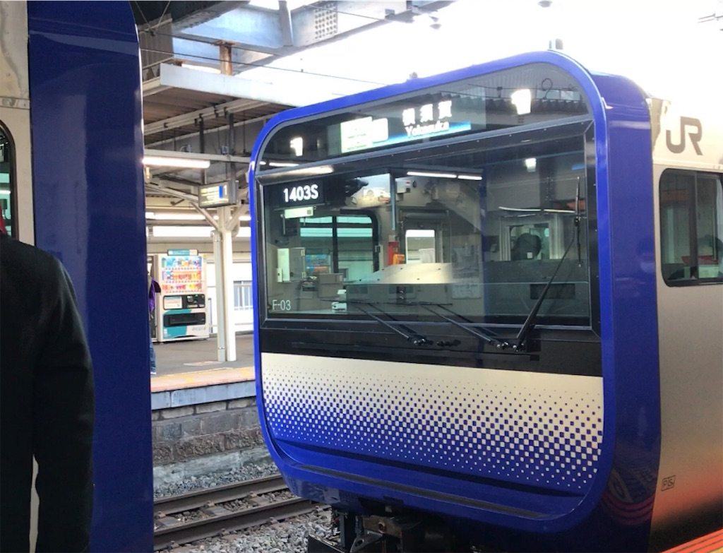 逗子駅2番線で切り離し作業中のE235系横須賀行き(2021/1/2)