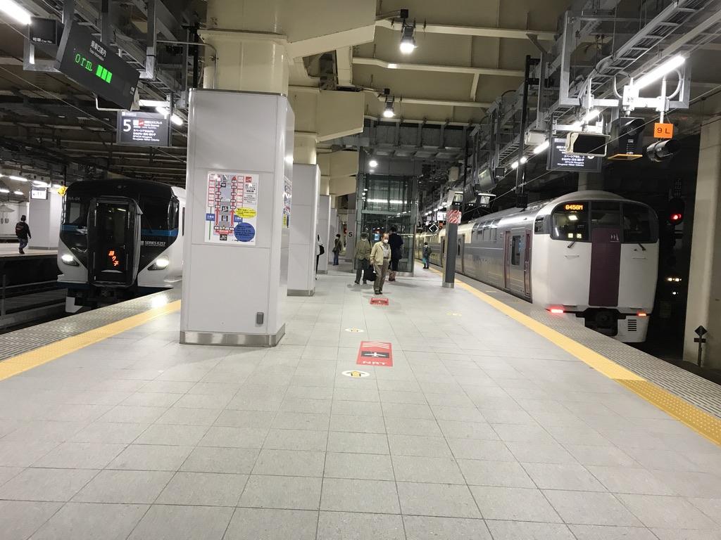新宿駅5・6番線に並ぶE257系踊り子18号池袋行き、215系ホリデー快速ビューやまなし号回送(2020/10/4)
