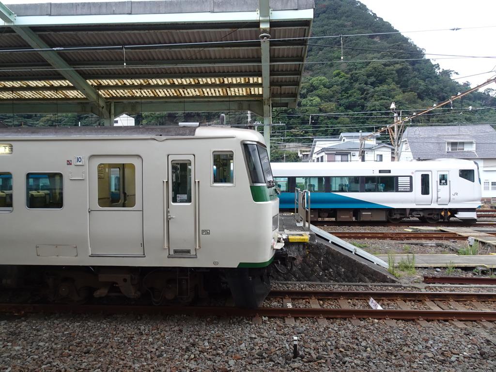 伊豆急下田駅2番線に停車中の185系踊り子号、留置線にいるE257系(2020/9/20)