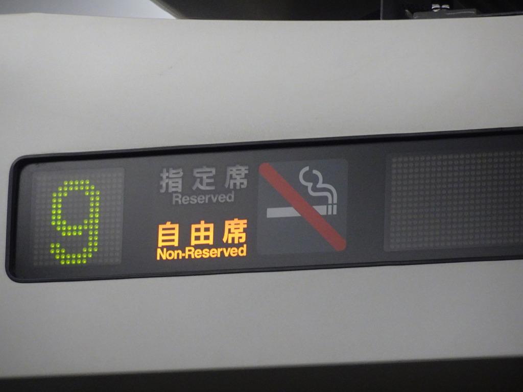 E257系踊り子18号車内ドア上表示:号車番号・席種
