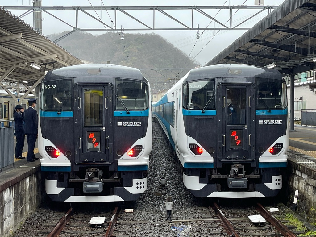 修善寺駅3番線に到着した踊り子13号、2番線で発車待ちの踊り子12号(2021/3/13)