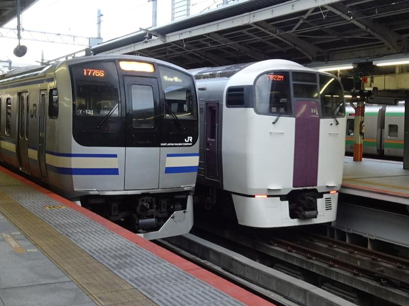 横浜駅9番線に到着したE217系横須賀線下り列車と、8番線に入線した215系回送(2020/7/8)
