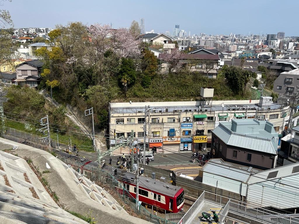 弘明寺公園に登って、弘明寺駅を出発した上り列車を眺める(2021/3/27)