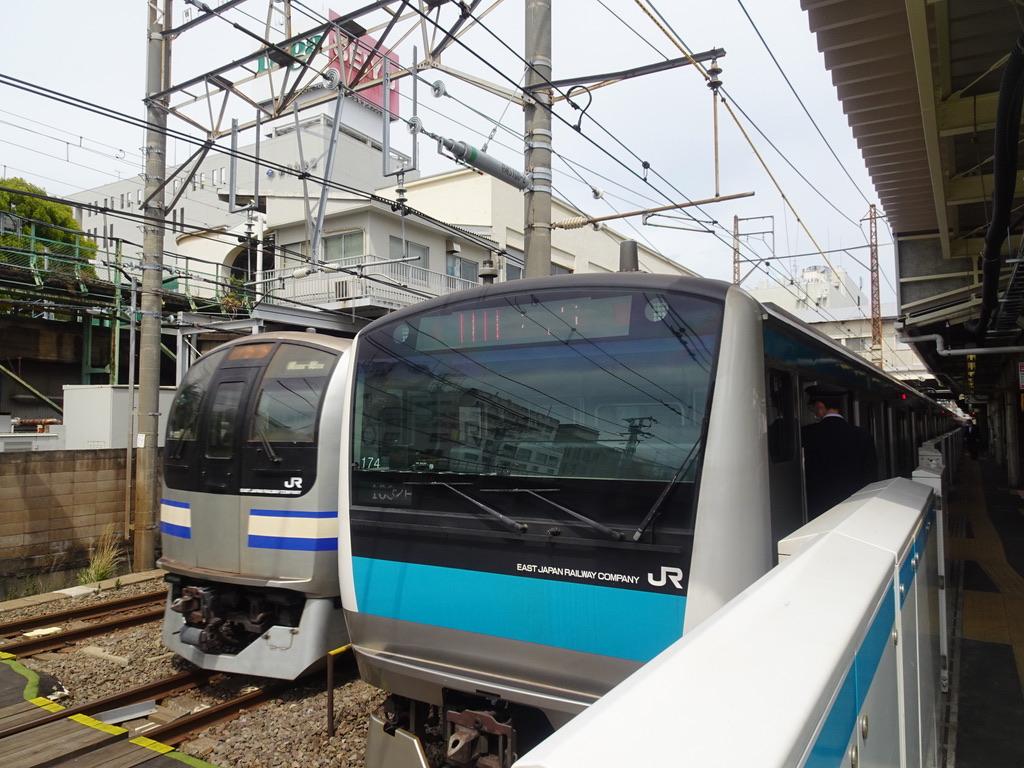 鶴見駅に停車中の京浜東北線の横を通過する横須賀線E217系(2021/4/4)