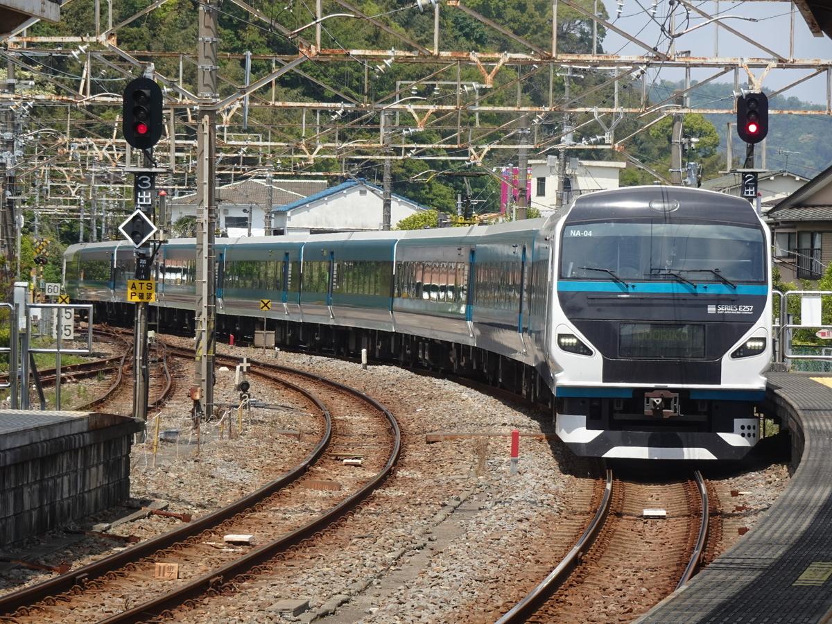 伊東駅1番線に到着するE257系踊り子9号伊豆急下田行き(2021/4/25)