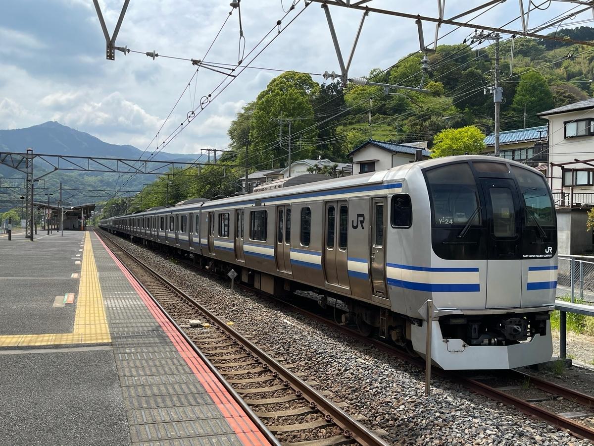 湯河原駅横に留置されているE217系(横須賀線・総武快速線)(2021/4/25)