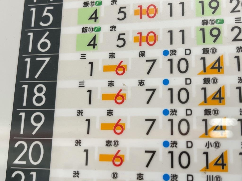 菊名駅上りホームの平日夕方時刻表・18:06発(急行)、18:07発(各停)が志木行き同士の緩急接続(2021/5/10)