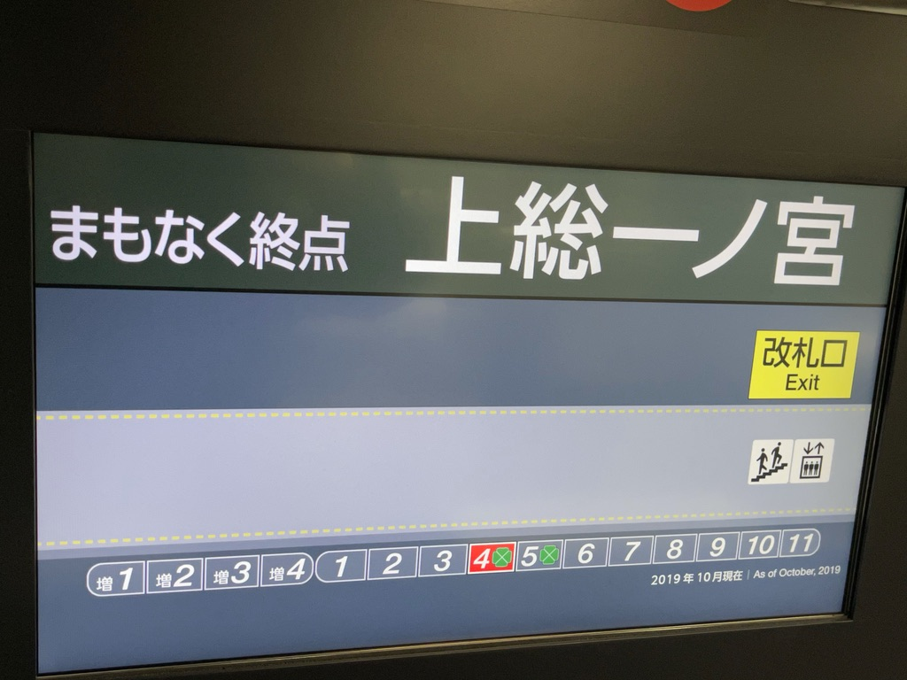 上総一ノ宮駅到着直前のE235系車内案内:ホーム位置案内(2021/4/6)