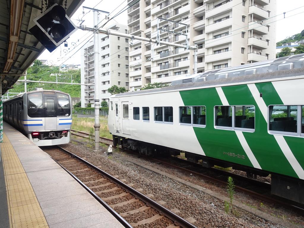 横須賀駅を発車した横須賀線E217系11両編成普通久里浜行き、留置中の185系6両編成(2021/6/12)