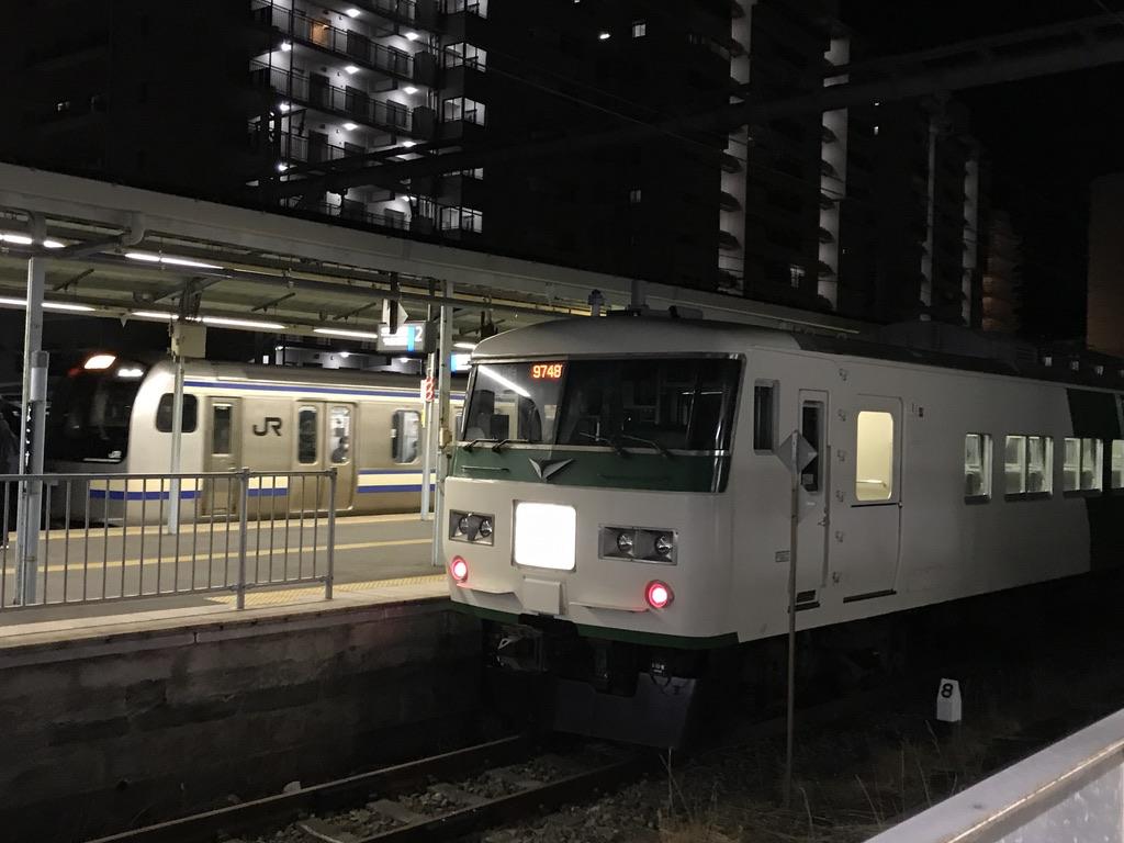 横須賀駅3番線に到着するE217系久里浜行き、2番線に停車中の185系(成田山初詣号)回送(2021/1/10)