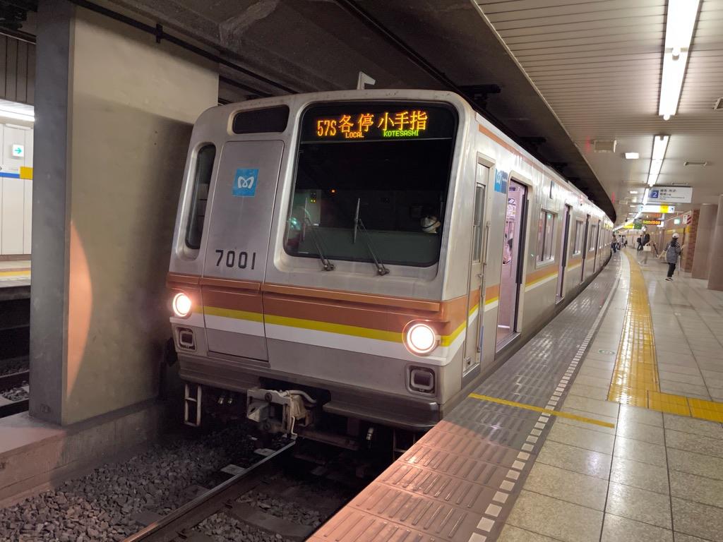 新桜台駅2番線に停車中の東京メトロ7101F各駅停車小手指行き(2021/6/19)